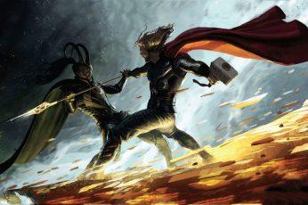 Wallpaper Marvel Thor Vs Loki Digital Wallpaper, Comics