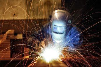 Wallpaper Men, Workers, Welding, Sparks, Long Exposure