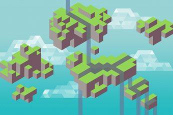 Wallpaper Mine Craft Gameplay, Minecraft, Minimalism