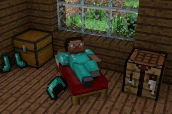 Wallpaper Minecraft Game Scene, Man Lying On Bed Minecraft