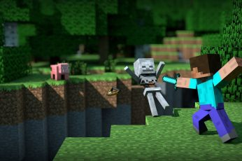 Wallpaper Minecraft Illustration, Two Boys Playing