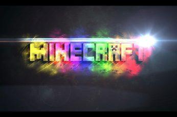 Wallpaper Minecraft Logo, Night, Illuminated, Neon Light
