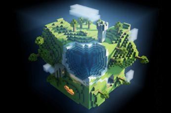 Wallpaper Minecraft, Planet, Cube, Cubes, World