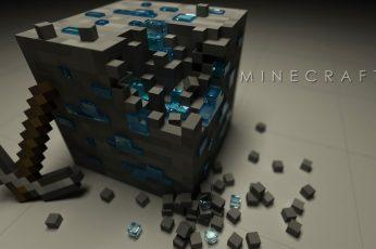 Wallpaper Minecraft Poster, Minecraft 3d Block With Pickax