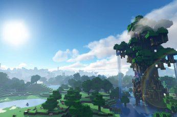 Minecraft World Wallpaper, Waterfall, Video Game
