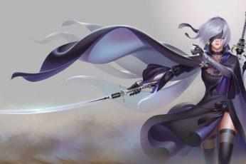 Wallpaper Nier, Female Anime Character Holding Sword Wallpaper