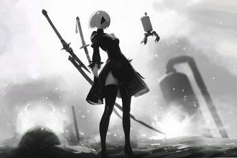 Wallpaper Nier, Female Anime Character Wallpaper, Digital Art