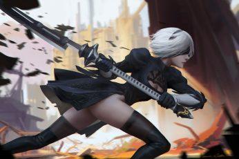 Wallpaper Nier, Gray Haired Girl Character Holding Spear Wallpaper