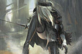 Wallpaper Nier, Gray Haired Woman Holding Sword Anime, Nier