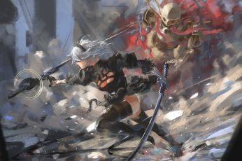 Wallpaper Nier, Grey Haired Anime Character Holding Sword, Nier