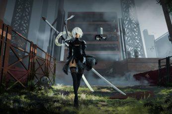Wallpaper Nier, White Haired Female Anime Character Illustration