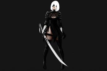 Wallpaper Nier, White Haired Female Character Holding Katana