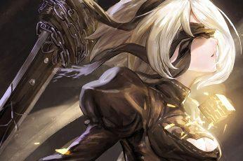 Wallpaper Nier, White Haired Female Character Illustration, Nier