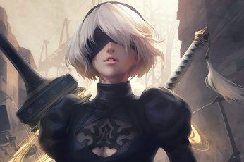 Wallpaper Nier, White Haired Woman In Black Top Illustration