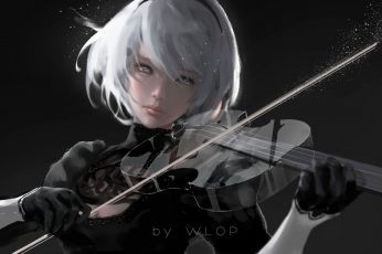 Wallpaper Nier, Wlop, Artwork, Women, Digital Art, Anime
