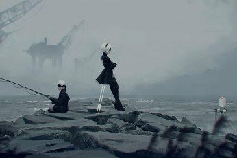 Wallpaper Nier, Woman Standing Beside Body Of Water, Video Games