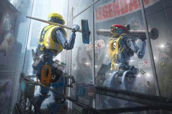Wallpaper Science Fiction, Futuristic, Robot, Courageous