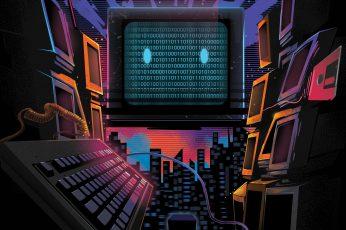 Wallpaper Technology, Retrowave, Binary Code, Electro Wave